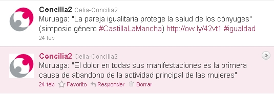 Tuits publicados por Concilia2 en relación sobre el simposio sobre tendencias en las políticas de género celebrado el Toledo en febrero de 2011